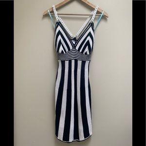 Marciano Guess Black White Stripe Knit Dress